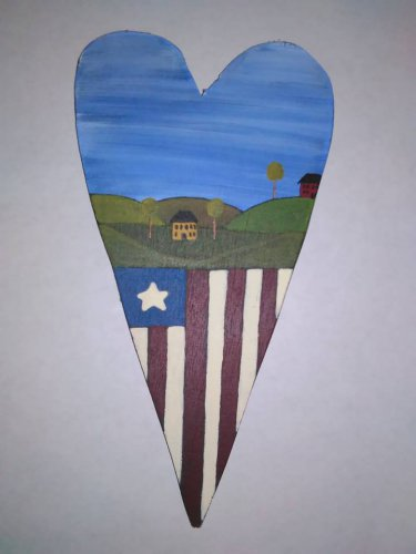 Primitive Rustic Wood Heart Cutout Painting OOAK (EC007)