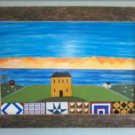 Original Primitive Rustic Painting (EC0011) OOAK Quilts Salthouse Ocean