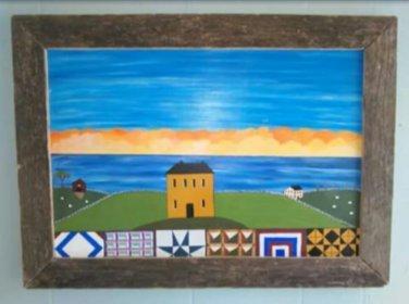 Original Primitive Rustic Painting (EC0011) OOAK Quilts Salthouse Ocean