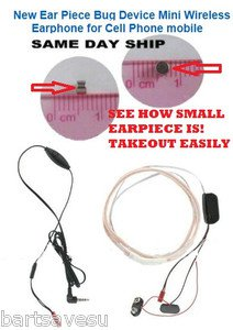 TEST SPY DEVICE Hidden Ear Piece Bug Device Covert  Wireless Earphone Cell Phone