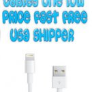 WHOLESALE 100 x 8 Pin to USB Cable Charger Data Sync iPhone 5 FAST US SHIPER LOT
