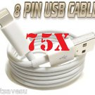 WHOLESALE 75 x 8 Pin to USB Cable Charger Data Sync iPhone 5 FAST US SHIPPER LOT