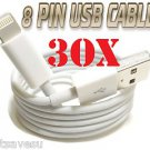 WHOLESALE 30 x 8 Pin to USB Cable Charger Data Sync iPhone 5 FAST US SHIPPER LOT