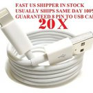 WHOLESALE 20 x 8 Pin to USB Cable Charger Data Sync iPhone 5 FAST US SHIPPER LOT