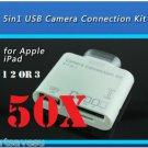 50x 30 PIN 5 in1 USB Camera Connection Kit SD TF Card Reader Adapter iPad 1 2 3