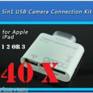 40x 30 PIN 5 in1 USB Camera Connection Kit SD TF Card Reader Adapter iPad 1 2 3