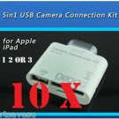 10x 30 PIN 5 in1 USB Camera Connection Kit SD TF Card Reader Adapter iPad 1 2 3