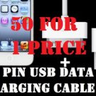 LOT 50  USB 2.0 Type A 30-Pin Sync Charge USB Cable iphone ipod nano 3GS IPAD