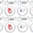 8X USB Home AC Wall Charger 2x 8 Pin Data Sync Cable 4 iPhone 5  iPod Touch LOT