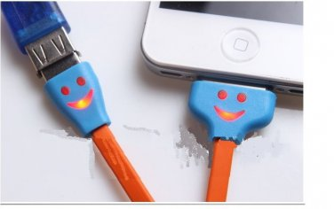 US LED YELLOW Light Smile Face 30 PIN USB Data Sync Cable iPhone 4 4S GALAXY LOT