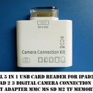 SD Card Reader Adapter ipad 1 2 3 USA5 in 1 30 Pin USB Camera Connection Kit TF