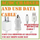 3X1 HOME WALL TRAVEL CAR CHARGER MICRO USB CABLE GALAXY S3 SIII HERO ANDROID USA