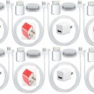 USA 8x USB AC Wall Charger 8x 8Pin Data Sync Cable for iPhone 5  iPod Touch LOT