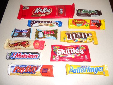 12 Different Candies - Kit Kat, M&Ms, Reese's, Snickers, and MORE