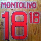 RICCARDO MONTOLIVO 18 AC MILAN AWAY 2013 2014 NAME NUMBER SET NAMESET KIT PRINT