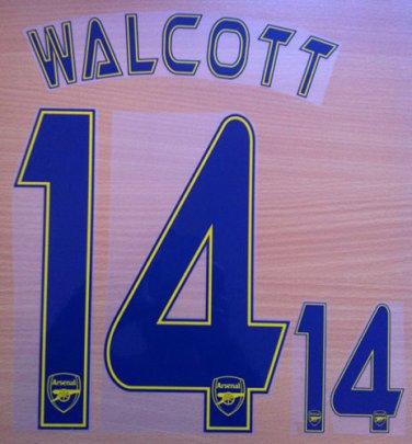 WALCOTT 14 ARSENAL CHAMPIONS AWAY 2013 2014 NAME NUMBER SET NAMESET KIT PRINT