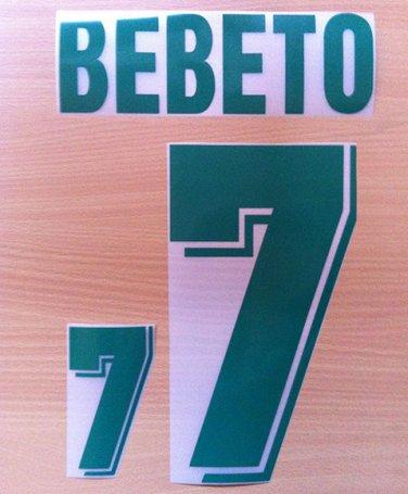 BEBETO 7 BRAZIL HOME WORLD CUP 1994 NAME NUMBER SET NAMESET KIT PRINT NUMBERING