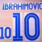 IBRAHIMOVIC' 10 SWEDEN HOME EURO CUP 2004 NAME NUMBER SET NAMESET KIT PRINT