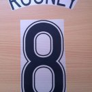 ROONEY 8 MANCHESTER UNITED AWAY 2006 2007 NAME NUMBER SET NAMESET KIT PRINT