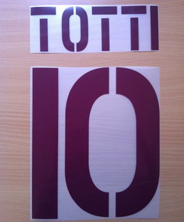 TOTTI 10 AS ROMA AWAY 2003 2004 NAME NUMBER SET NAMESET KIT PRINT NUMBERING
