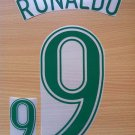 RONALDO 9 BRAZIL HOME WORLD CUP GERMANY 2006 NAME NUMBER SET NAMESET KIT PRINT