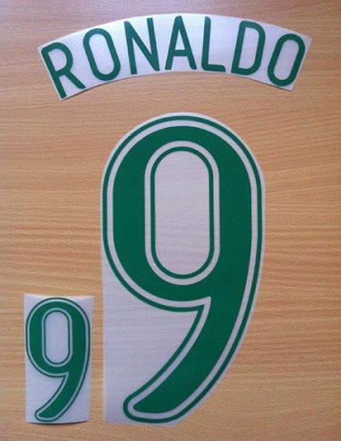 RONALDO 9 BRAZIL HOME WORLD CUP GERMANY 2006 NAME NUMBER SET NAMESET KIT PRINT