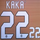 KAKA' 22 AC MILAN 2004 2007 NAME NUMBER SET NAMESET KIT PRINT NUMBERING RETRO