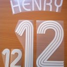 THIERRY HENRY 12 FRANCE HOME WORLD CUP 2006 NAME NUMBER SET NAMESET KIT PRINT