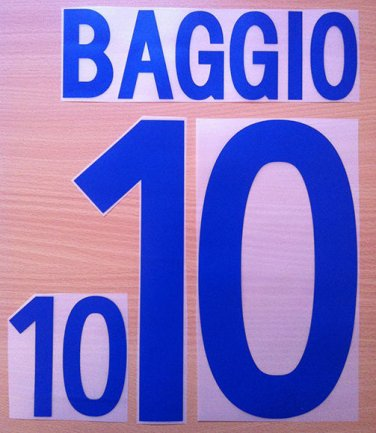 BAGGIO 10 ITALY AWAY 2002 NAME NUMBER SET NAMESET KIT PRINT NUMBERING