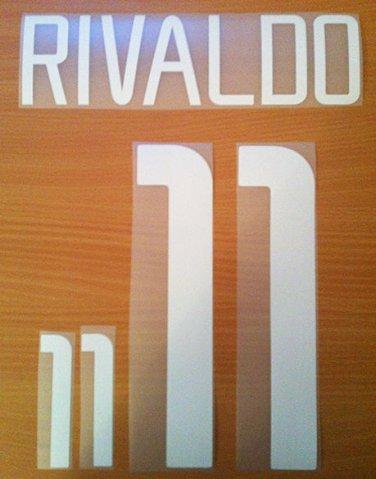 RIVALDO 11 BRAZIL AWAY WORLD CUP 2002 NAME NUMBER SET NAMESET KIT PRINT