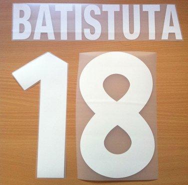 BATISTUTA 18 AS ROMA HOME 2000 2002 NAME NUMBER SET NAMESET KIT PRINT NUMBERING