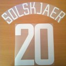 SOLSKJAER 20 MANCHESTER UNITED H UCL 2002 2004 NAME NUMBER SET NAMESET KIT PRINT