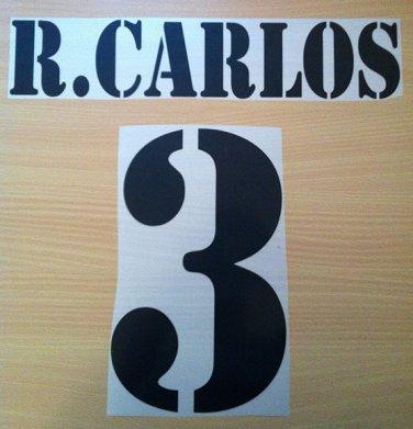 ROBERTO CARLOS 3 REAL MADRID HOME 2001 2002 NAME NUMBER SET NAMESET KIT PRINT
