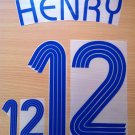 THIERRY HENRY 12 FRANCE AWAY WORLD CUP 2006 NAME NUMBER SET NAMESET KIT PRINT