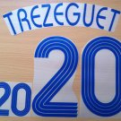 TREZEGUET 20 FRANCE AWAY WORLD CUP 2006 NAME NUMBER SET NAMESET KIT PRINT