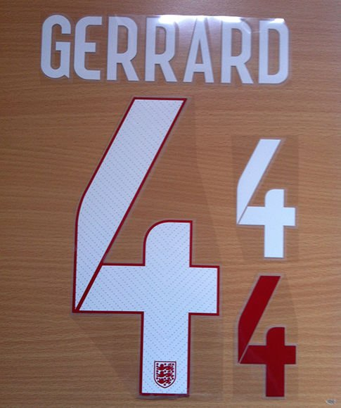 GERRARD 4  ENGLAND AWAY 2014 2015 NAME NUMBER SET NAMESET KIT PRINT