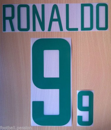 RONALDO 9 BRAZIL HOME WORLD CUP 2002 NAME NUMBER SET NAMESET KIT PRINT