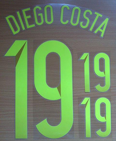 DIEGO COSTA 19 SPAIN AWAY 2014 2015 NAME NUMBER SET NAMESET KIT PRINT WORLD CUP