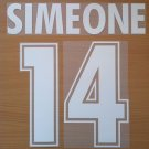 SIMEONE 14 SS LAZIO AWAY 2000 2001 NAME NUMBER SET NAMESET KIT PRINT NUMBERING