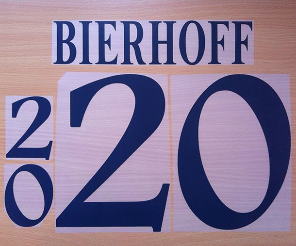 BIERHOFF 20 GERMANY HOME EURO 1996 NAME NUMBER SET NAMESET KIT PRINT NUMBERING