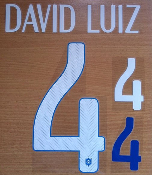 DAVID LUIZ 4 BRAZIL AWAY 2014 2015 NAME NUMBER SET NAMESET KIT PRINT WORLD CUP
