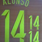 ALONSO 14 SPAIN AWAY 2014 2015 NAME NUMBER SET NAMESET KIT PRINT WORLD CUP