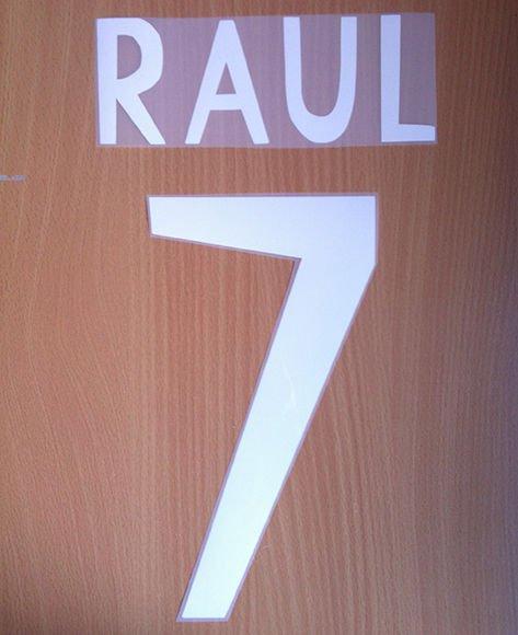 RAUL 7 REAL MADRID AWAY 1998 1999 NAME NUMBER SET NAMESET KIT PRINT RETRO