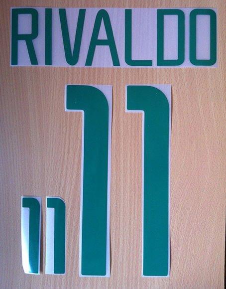 RIVALDO 11 BRAZIL HOME WORLD CUP 2002 NAME NUMBER SET NAMESET KIT PRINT