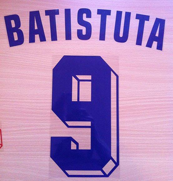GABRIEL BATISTUTA 9 FIORENTINA AWAY 1998 1999 NAME NUMBER SET NAMESET KIT PRINT