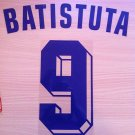 GABRIEL BATISTUTA 9 FIORENTINA AWAY 1998 1999 NAME NUMBER SET NAMESET KIT PRINT