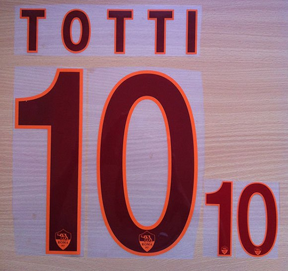FRANCESCO TOTTI 10 AS ROMA AWAY 2013 2014 NAME NUMBER SET NAMESET KIT PRINT