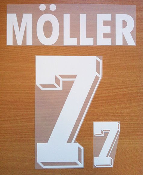MOLLER 7 GERMANY AWAY WORLD CUP1994 NAME NUMBER SET NAMESET KIT PRINT NUMBERING