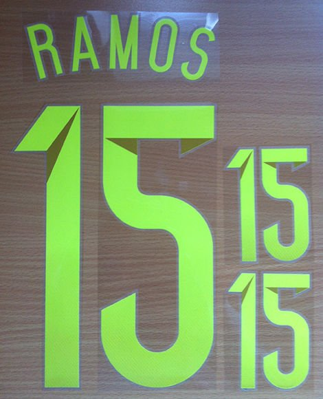 SERGIO RAMOS 15 SPAIN AWAY 2014 2015 NAME NUMBER SET NAMESET KIT PRINT WORLD CUP
