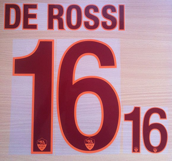 DANIELE DE ROSSI 16 AS ROMA AWAY 2013 2014 NAME NUMBER SET NAMESET KIT PRINT